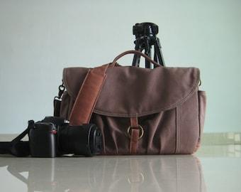 SALE  - 25% Koi, Cinnamon, Canvas Camera Bag/ Camera Bag/ Camera Messenger Bag / dslr camera bag/ Gift for her/