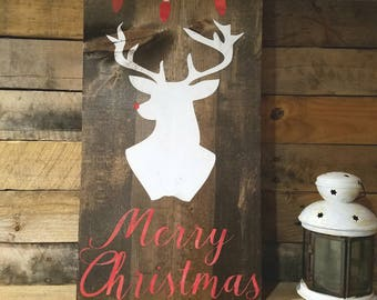Christmas Deer sign - Merry Christmas sign - Rudolph Sign