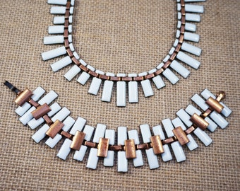 Mid Century Modern Matisse Copper and White Enamel Collar Necklace and Bracelet Set Renoir Modernist