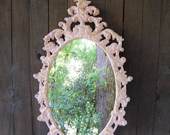 Mirror, Pink, Gold, Shabby Chic, Nursery, Hand Painted, Upcycled Vintage, Ornate, Baroque, Cottage Decor, Hanging, Decorative, Wall, Wedding