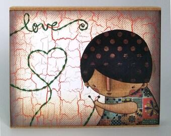 Love and Knitting Mini Artist Block