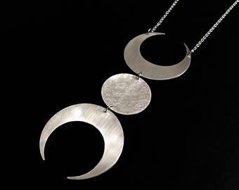Triple Goddess Silver Moon Necklace Divine Feminine Bold Symbolic Pendant Statement Jewelry