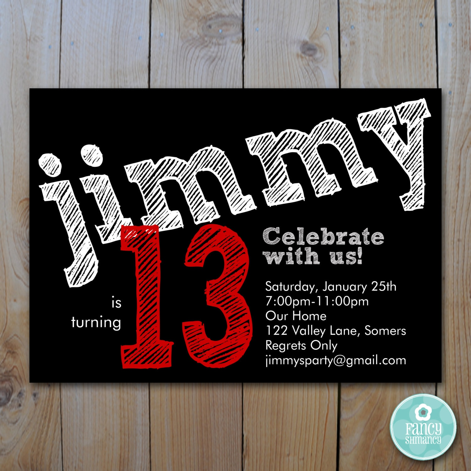 Teen boys birthday invitation red chalk lettering zoom bookmarktalkfo Gallery