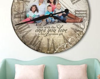 Wall Clock with Family Picture, Personalized High-End Home Decor for Couple, Beautiful Decoration for House, Will Love Unique Graphic Design