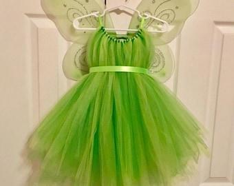 Tinker Bell Costume - Fairy Wings - Green Tulle Dress