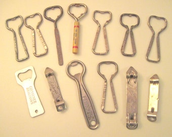 Beer Bottle / Can Openers with Advertisements 13 assorted vintage bottle / can openers with M R Groetz, Dortmunder, Elelweiss, Drewrys, more