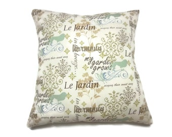 Pillow Cover Fanciful Script Design Blue Mint Green  Brown Olive Green Cream Same Fabric Front/Back Toss Throw Accent 18x18 inch x