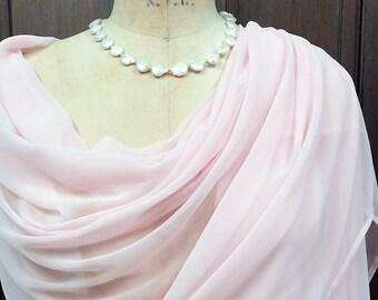 Pale Pink Chiffon Shawl Wrap XLarge