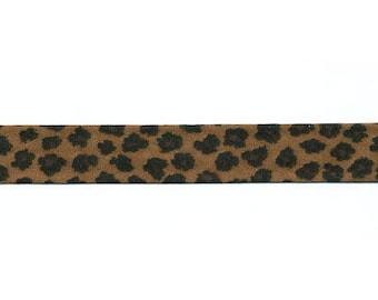 Dark brown Leopard bias by the yard