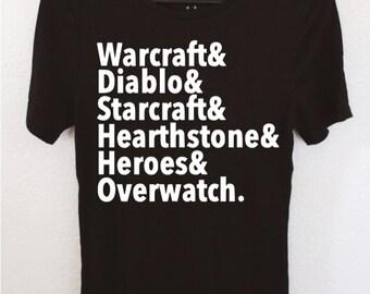 Blizzard Games Shirt, Warcraft, Diablo, Starcraft, Hearthstone, Heroes, Overwatch, Geek, PC, Computer