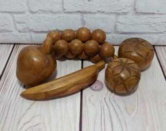 Vintage Rustic Wood Fruit Set of 5