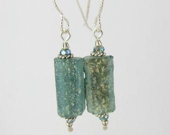 deep teal blue green ancient Roman glass and crystal sterling earrings FREE SHIPPING OOAK
