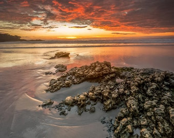 Carmel Beach Red - carmel,california,intense sunset,reds,yellows,rock,earth tones,sand,home decor,office decor,clouds,brown,serene,ocean