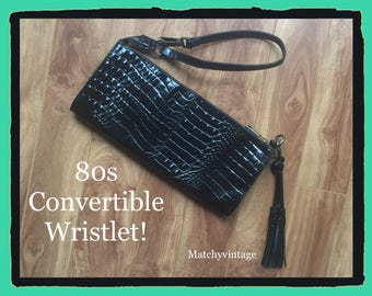 FREE SHIPPING | Vintage 80s Wristlet | Black Leather Croc Bag | Ladies Designer Tassel Handbag Clutch Purse