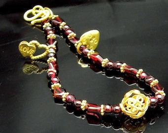 LOVE LOCK ~ Garnets, 14kt Gold Vermeil Love Bracelet