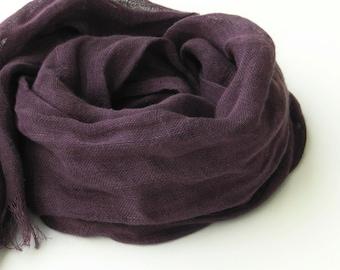 purple scarf - pure linen - eggplant - long - women men