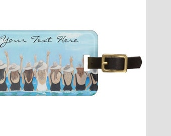 Luggage Tag//Ocean Wading Scene//Will You Be My Bridesmaid//Custom Bridesmaid Gift//Travel ID//Shower Hostess//Bride Art// Free Shipping