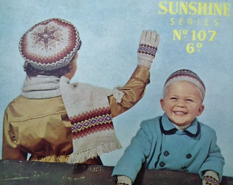 Vintage 1940s 1950s Knitting Pattern Children's Fair Isle Accessories - Scarf Gloves Mittens Beret Cap Hat - Sirdar Sunshine Series No. 107