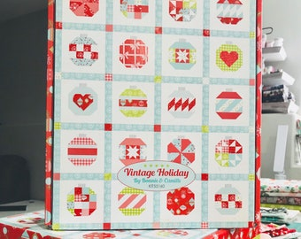 """Vintage Holiday 2 Kit with Pattern by Thimble Blossoms for Moda- Finished Quilt Size 58"""" x 72"""""""