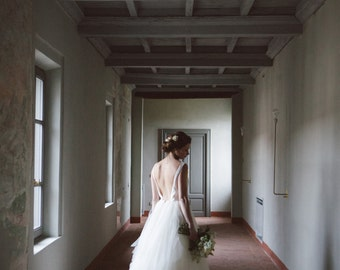 Backless tulle wedding dress, ivory tulle bridal gown, destination wedding dress, long tulle wedding gown, beach wedding dress, elopement