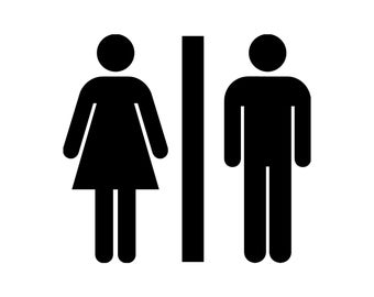 His and Hers Coed Co-Ed Restroom Bathroom Toilet Sign Silhouette Cutting File Clipart SVG DXF jpg png psd Photoshop Element Vector
