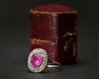 Edwardian Burmese Pink Sapphire & Diamond Ring