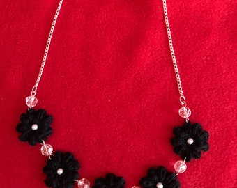 Crochet Black Flower Necklace