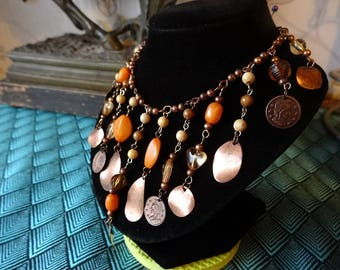 Copper Graduated V-Pendant Coin and Bead Necklace