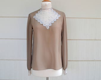 Vintage Albert Nipon Blouse, Sheer Taupe Blouse, Victorian Style, Lace Cuffs, Inset and High Collar, Size 4, 1980s
