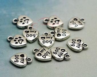 50PCS--13x10mm , Heart Charms, Antique silver Heart my dog charm pendant, DIY supplies,Jewelry Making