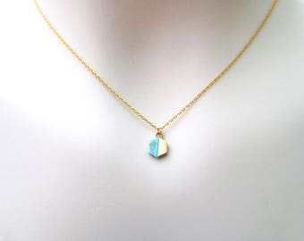 Turquoise, Hexagon, Gemstone, Gold, Necklace, Lovers, Friends, Mom, Sister, Gift