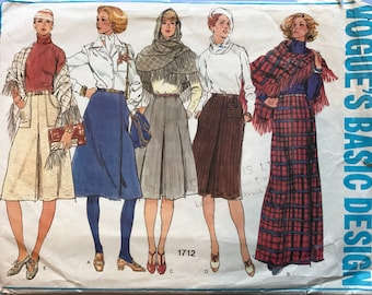 Vogue 1712 Retro Vintage 1970's Basic Design Skirt & Shawl, Flared, Pleated, Wrap-Over, Long, Evening, Below-Knee, Sewing Pattern Size 10