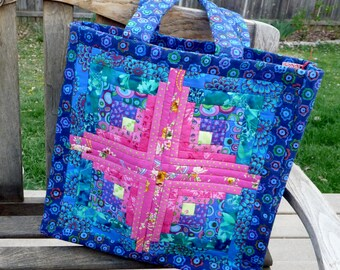 Quilted Blue Log Cabin Tote Bag