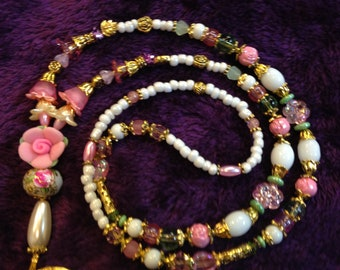 Beaded Lanyard and ID Holder SPRINGTIME Pink White on Gold 901