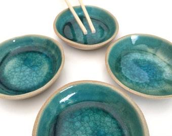 Ceramic Bowls, Taps Bowl, Ceramic Blue Bowl, Salt and Pepper Bowls, Condiment Bowls ,Dipping Bowl, Sauce Dish, Hand-built Bowl,Kitchen Gift