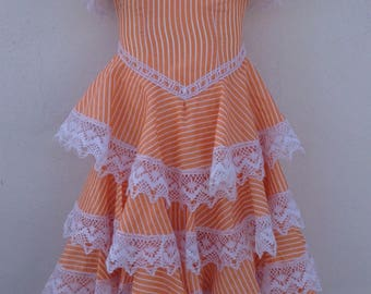 """Girl's Vintage Spanish Flamenco Dress Chest 20"""" (51cm) Unusual Pretty Orange & White Candy Striped Cotton With Lovely White Lace"""