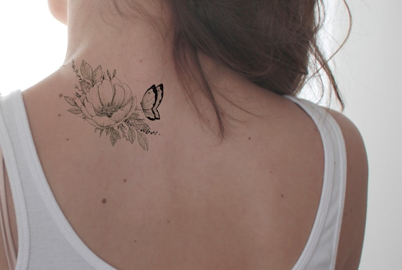 Floral butterfly tattoo fake tattoo black and white for White temporary tattoos