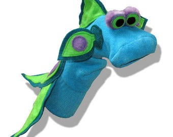 Handmade Turquoise Tropical Fish Sock Puppet
