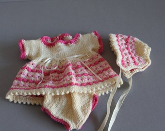 Knitted Dolls Dress, Panties & Bonnet,  8 inch Baby Doll