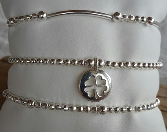 Trio of 925 sterling silver bracelets, medallions to customize