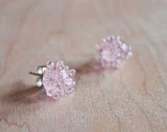 Glass Cluster Dot Earrings - Baby Pink