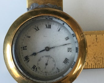 Rare WWI Period Brass Pocket Watch Holder With Screw Fitting