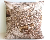 decorative pillow, map cushion, city map , pillow cover, EDINBURGH Organic cotton cushion cover, map pillow 16 inch