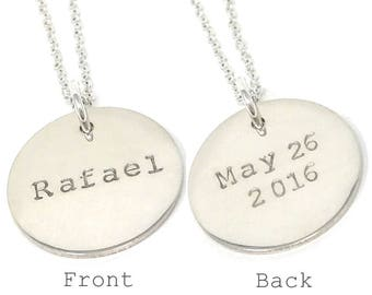 Celebrity Style Name Necklace with Date on the back - Double Sided Name Necklace - Personalized Silver Necklace