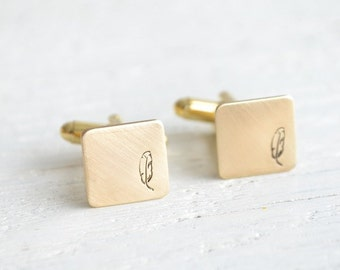 Bohemian feather cufflinks - mens bohemian inspired antique brass square accessories  - made in the USA by white truffle