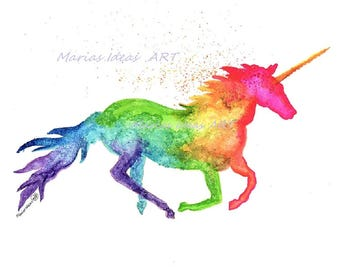 Unicorn, Unicorn wall art, watercolor Unicorn, rainbowitis, rainbow unicorn, marias ideas, rainbow