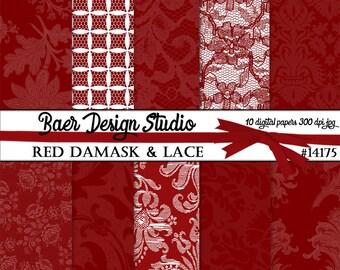 RED DIGITAL PAPER:Red Lace Digital Paper, Digital Paper Vintage, Wedding Digital Paper, Red Digital Scrapbooking,  Hochzeitseinladung 14175