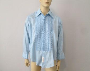 Mens Prom Wedding Tuxedo Shirt Vintage 1970s Powder Baby Blue Ruffles Jabot French Cuffs Large