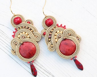 Coral Soutache Earrings-Crystal Gemstone Earrings-Red Coral Earrings-Red Coral Jewelry-Red Bohemian Earrings Jewelry-Red Boho Earrings