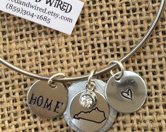 Kentucky Love Home Charm Bracelet, My Kentucky Home Bracelet, Love KY Home Bangle, Kentucky Jewelry, Hand Stamped State of KY, Heart KY